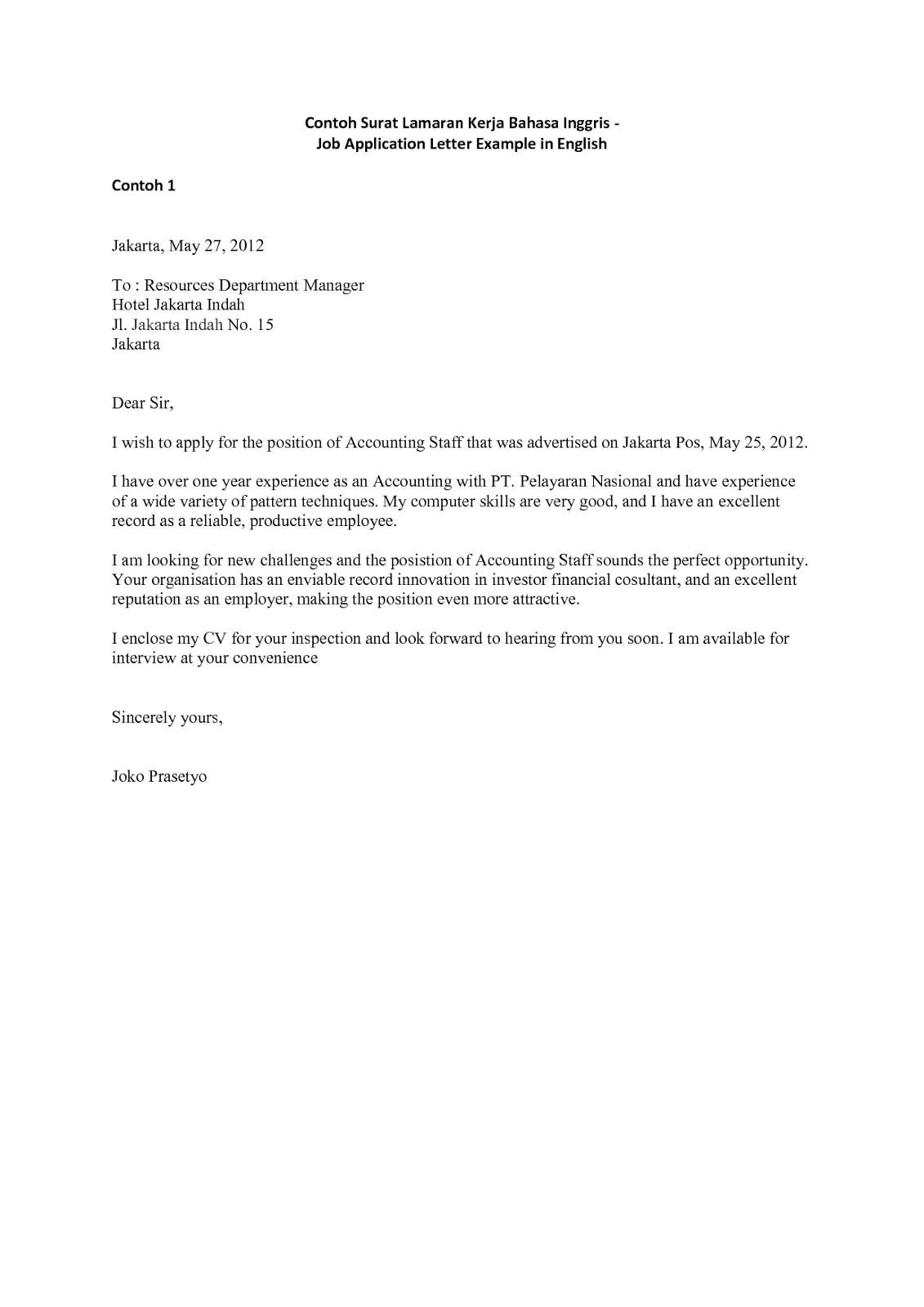 Contoh Cover Letter Fresh Graduate Tulisan