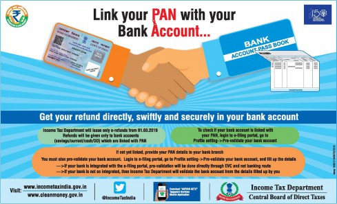 income-tax-refund-failed-due-to-pan-not-linked-to-bank-account,income tax link PAN and Bank account, No income-tax refund from Assessment Year 2019-20 if PAN and Bank is not linked, No income-tax refund  if PAN and Bank is not linked, prevalidate bank account, PAN NOT LINKED TO BANK ACCOUNT, income tax refund failure