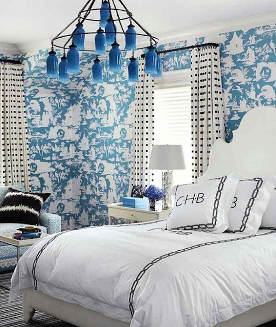 Beautiful Blue Bedrooms: The Glam Pad: Beautiful Blue And White Bedrooms