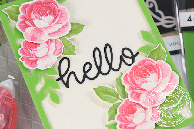 Sunny Studio Stamps: Botanical Backdrop Everything's Rosy Hello Word Die Two Scoops Stitched Oval Friendship Cards by Juliana Michaels Angelica Conrad