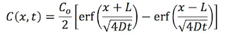 A solution to the diffusion equation containing two error functions.