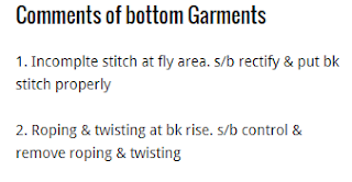 Importants Comments of bottom Garments