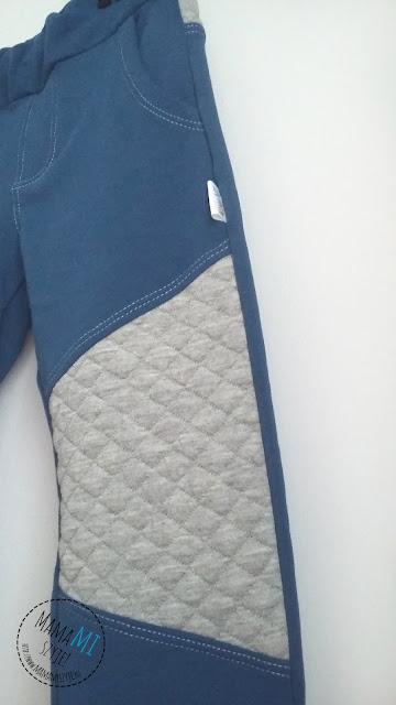 dresy z pikowaną dresówką, udawane jeansy