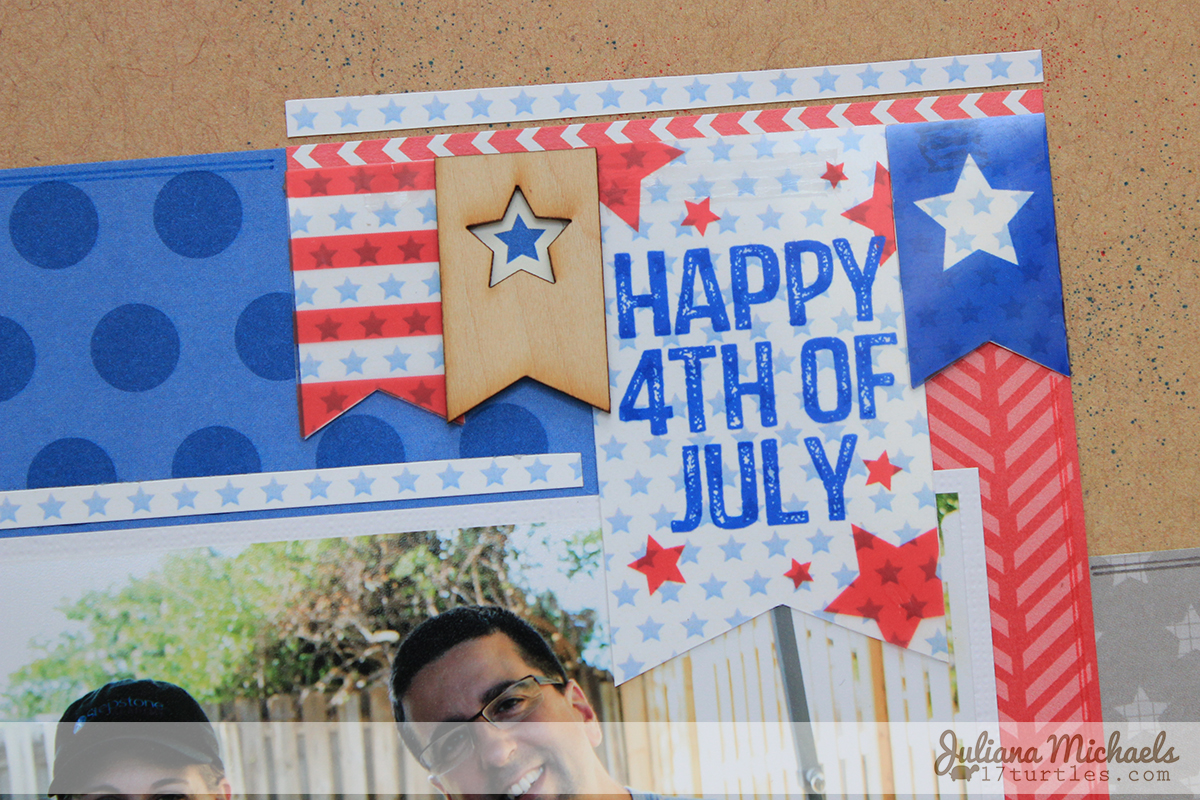 Let's Celebrate Scrapbook Page by Juliana Michaels for Elle's Studio #ellesstudio #4thofjuly #scrapbookpage