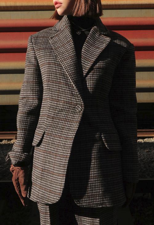 Check Pattern Slim Jacket