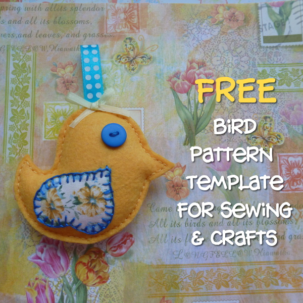 Free Bird Template for Sewing and Crafts: Great Pattern for Card Making and Hand Sewing Printable Download CraftyMarie