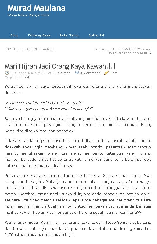 Mari Hijrah Jadi Orang Kaya Kawan!!!!