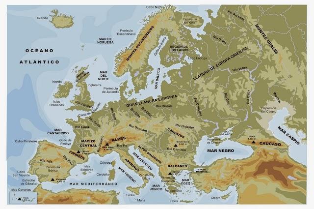 Mapa Fisic D Europa Rius.El Medi Natural A Europa Els Rius D Europa