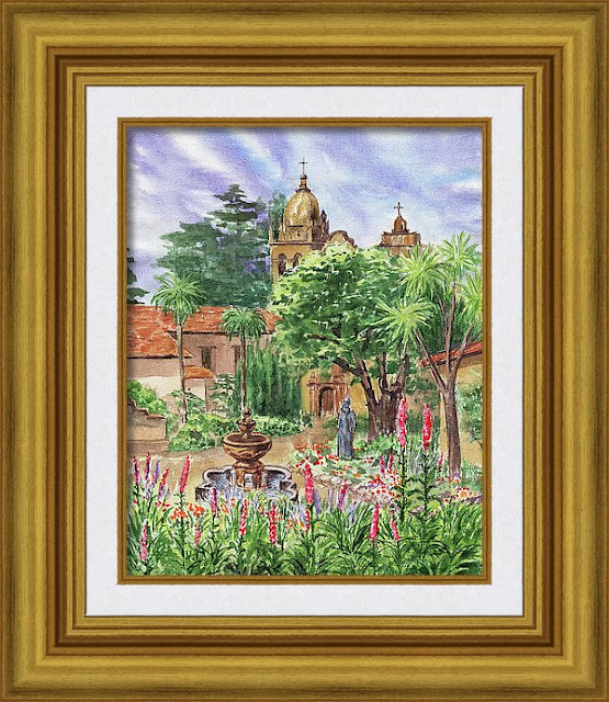 Watercolor Painting on Canvas Carmel by The Sea mission