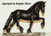 trotting Friesian