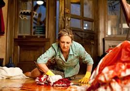Norma Bates cleans up a murder scene in A&E's Bates Motel