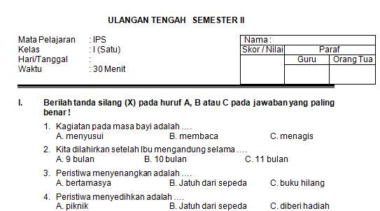 Kumpulan Soal UTS SD/MI Kelas 1 Semester 2 Mata Pelajaran IPS Format Microsoft Word