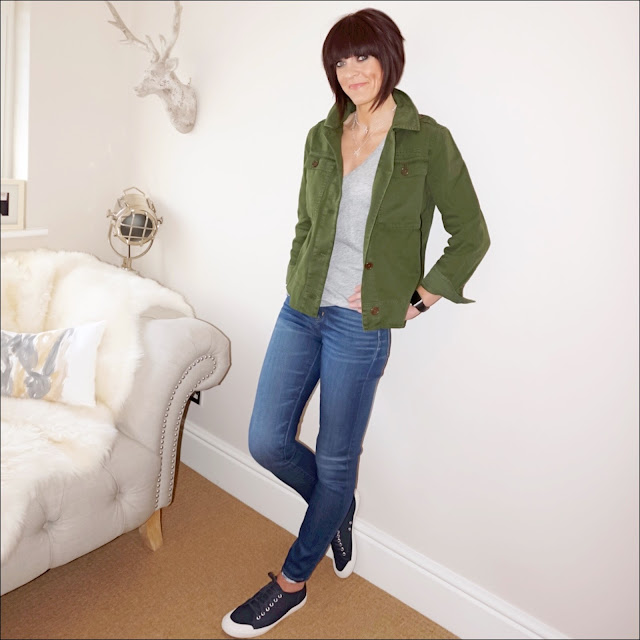 My Midlife Fashion, J Crew Skinny jeans, J Crew garment dyed safari shirt jacket, j crew vintage v neck t shirt, j crew skinny jeans, j crew tretorn canvas t56 sneakers, olia jewellery gracie double chain star necklace