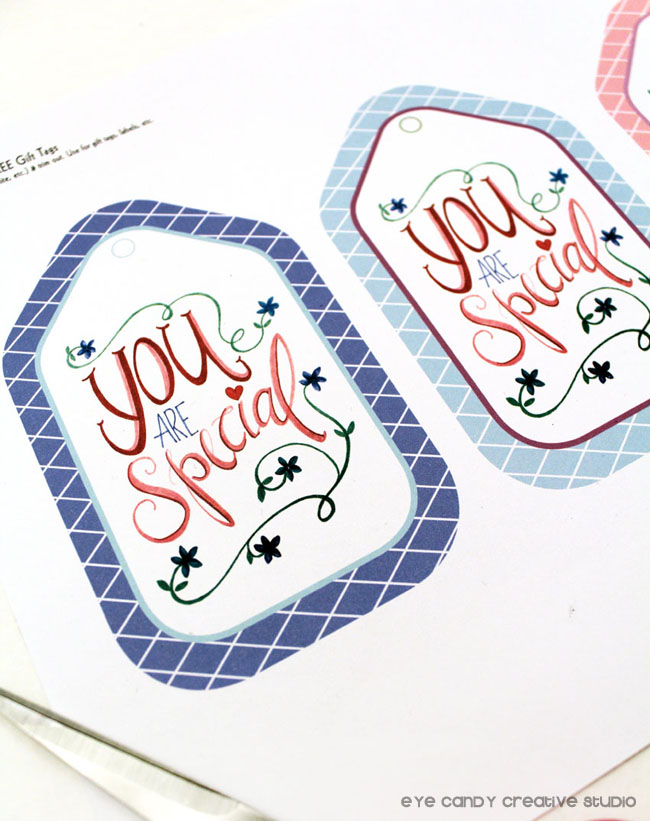 free download, free gift tags, hand lettered, floral watercolor, lettering