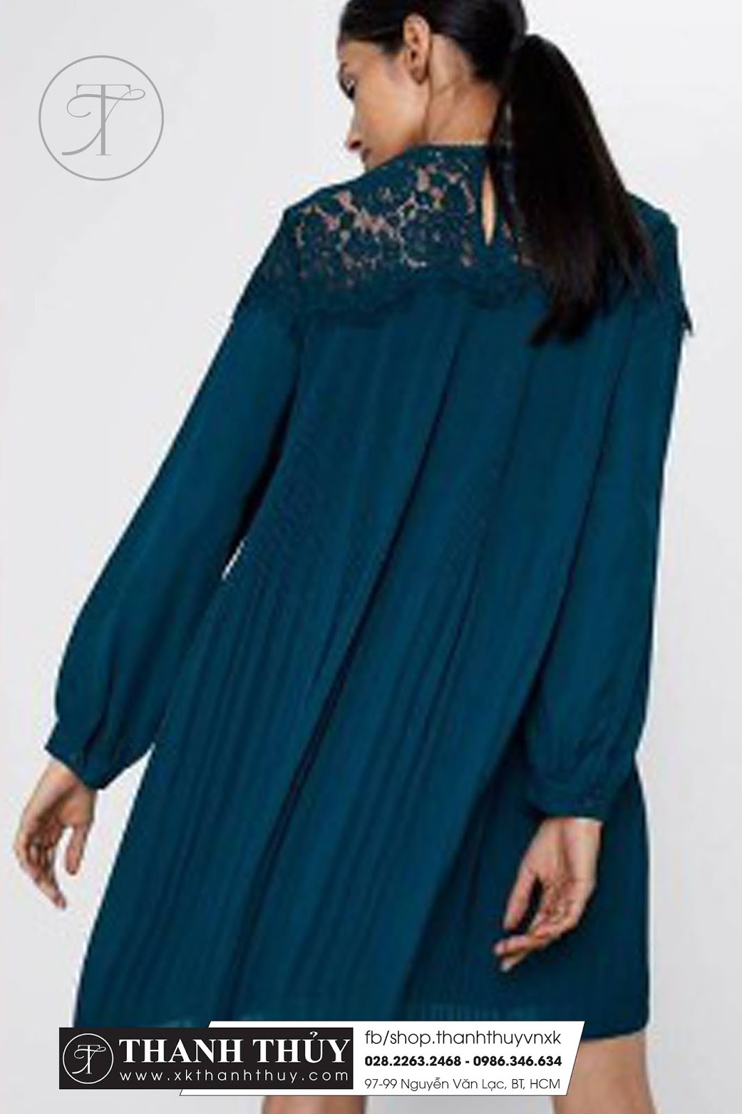 Đầm dập IY vai phối ren Zara thời trang