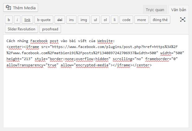 Chèn mã nhúng Facebook post vào trình soạn thảo trên WordPress ở chế độ văn bản