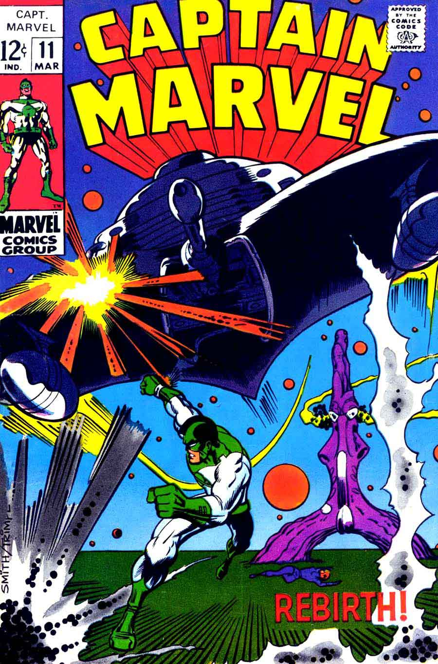 Captain Marvel v2 #11 marvel 1960s silver age comic book cover art by Barry Windsor Smith