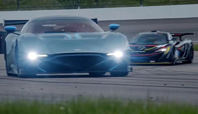 Battle on track McLaren P1 GTR vs Aston Martin Vulcan