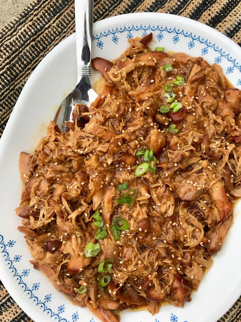 This tender chicken is sweet, savory, and has a touch of warmth from ginger and the best part is it cooks up easily in the slow cooker until it is falling apart.