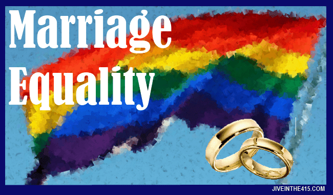 Marriage Equality rainbow flag and wedding rings jiveinthe415.com