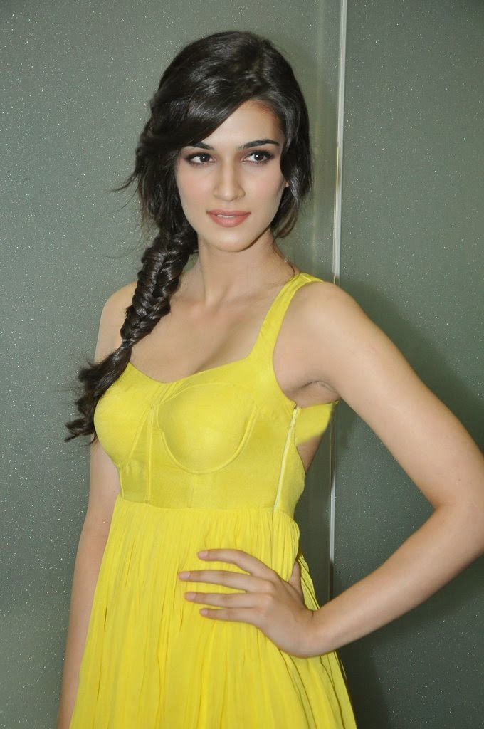 Kriti Sanon Hot Black Armpits Show Photos In Yellow Top