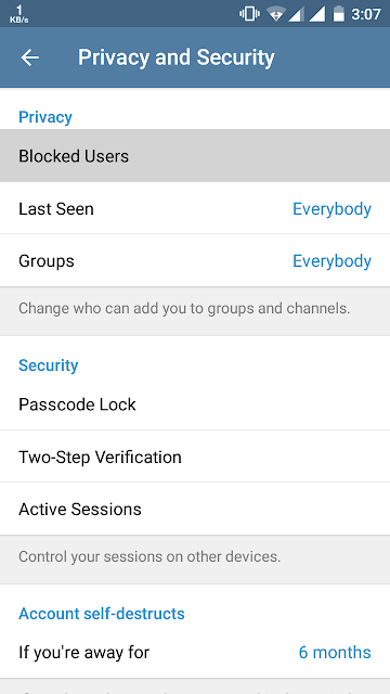 Blocked contacts telegram