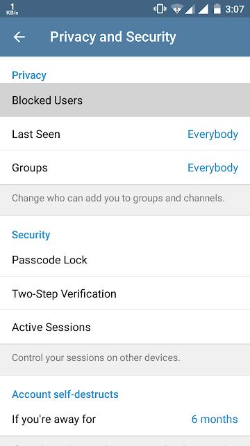 Blocked contacts telegram