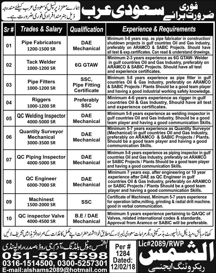 oday Jobs Newspaper Jobs,  15 02 2018 All 2018 JObs