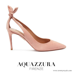 Meghan Markle wore Aquazzura Deneuve bow cutout suede pumps
