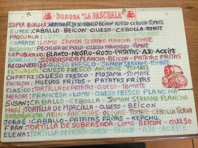 Almuerzos Populares - Carta de La Pascuala