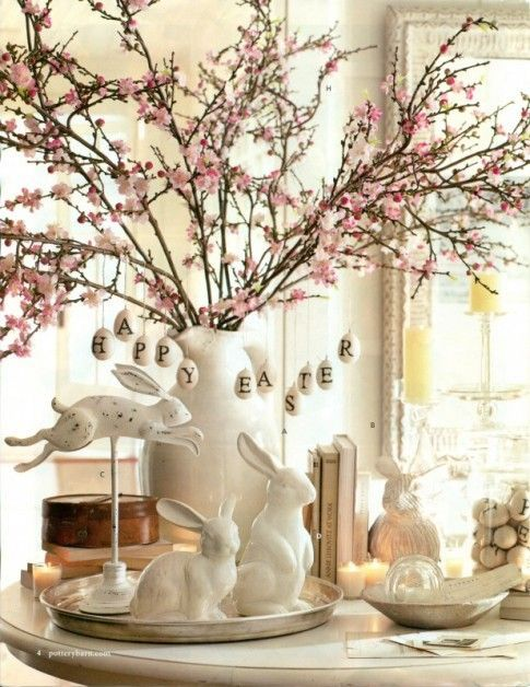 Pink cherry blossoms in vase for spring easter tablescape