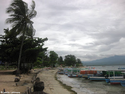 A windy harbor on Gili Air in Indonesia