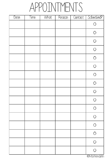 Daily Appointment Calendar Template. editable routines on notepad ...