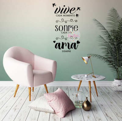 vinilo decorativo frase pared vive sonrie ama