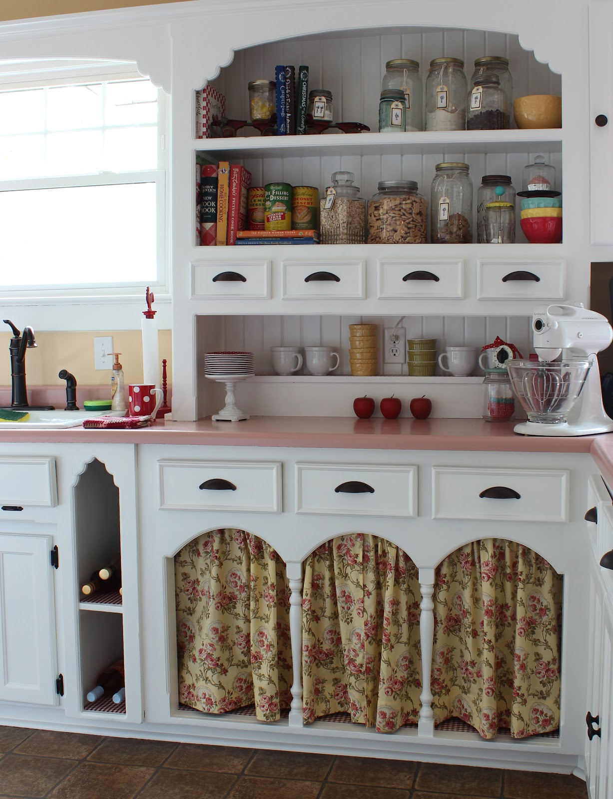 pink countertops kitchen renovated ideas catherine holman folk art living with