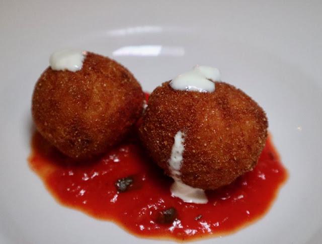 Two Pancetta and Pecorino Arancini balls
