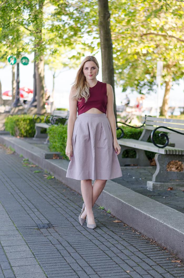 Crinkled lilac H&M midi skirt