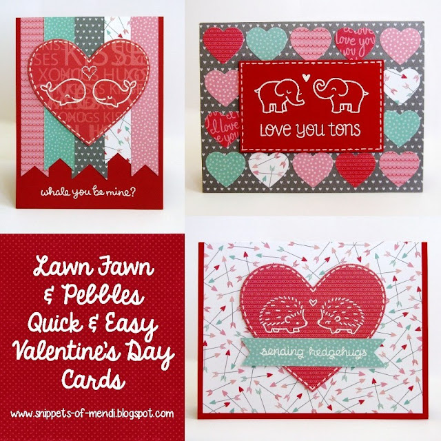 Lawn Fawn & Pebbles Quick & Easy Valentine's Day cards by Mendi Yoshikawa