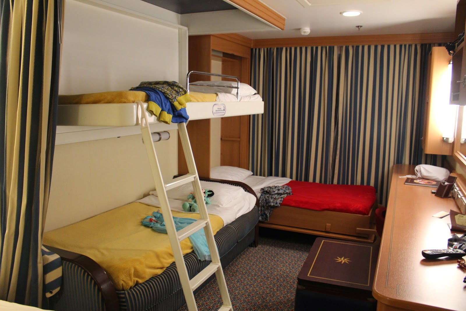 disney dream sofa bed brown leather corner northern ireland saving for a fantasy trip report part 2 embarking the and here is how room looked at night bunkbeds over murphy heavy curtain separates kids area from adult queen
