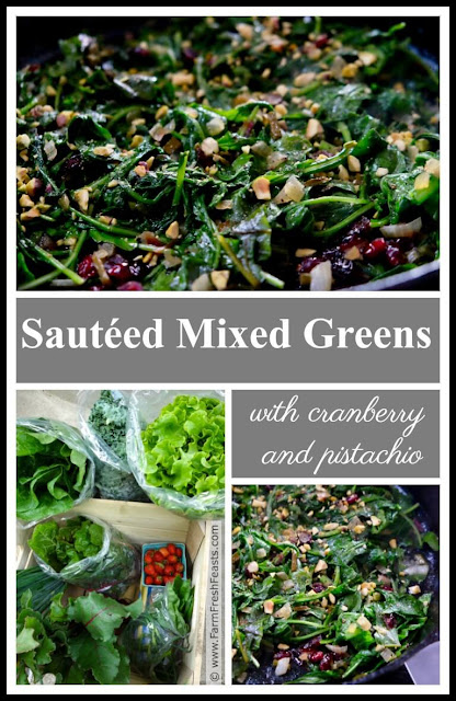 Brightly colored and fresh tasting, this side dish of sautéed cooking greens with dried cranberries and crunchy pistachios is sure to satisfy. Great alongside roasted meats or mashed potatoes!