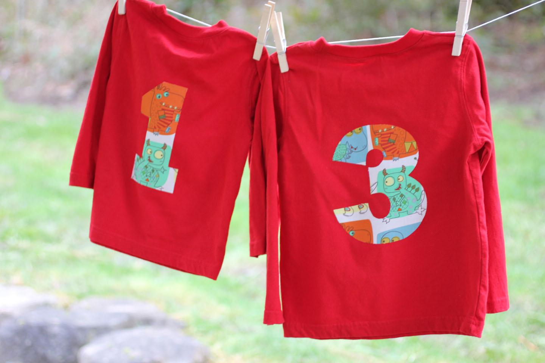 No Sew Birthday Number Shirts