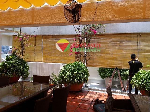 Những quán cafe nhà hàng có thể đặt những tấm mành tre trang trí