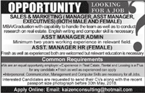 Private Jobs in Pakistan for Sales & Marketing, Admin Manager, Assistant manager