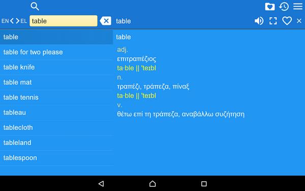 Δωρεάν ελληνο-αγγλικό λεξικό για Android συσκευές