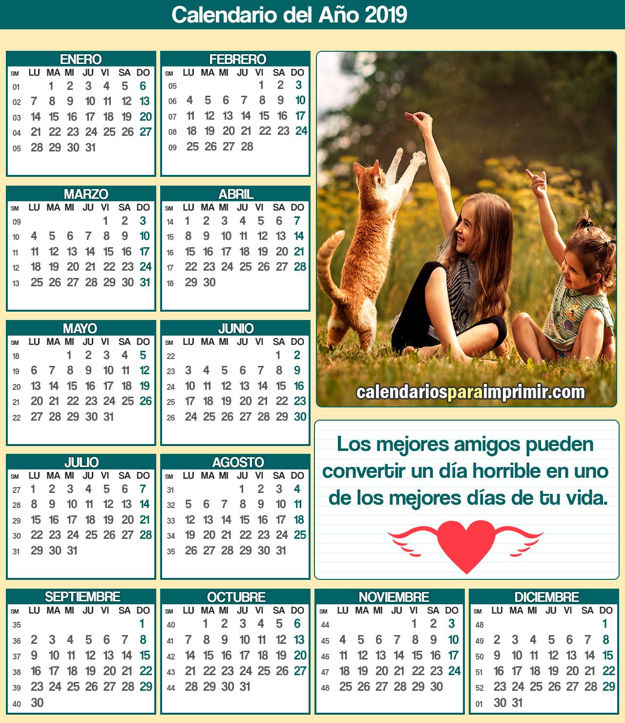calendario para imprimir 2019 de amigos