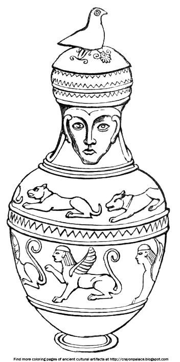 Coloring Sheets of Sculpted Figures on Greek Pottery Crayon Palace