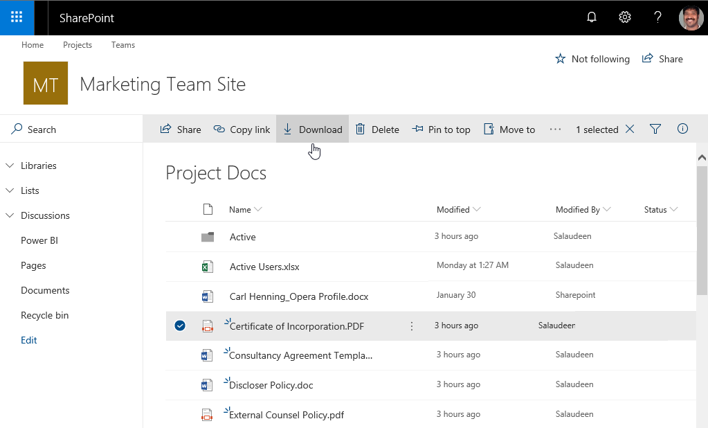 SharePoint Online: Download a File from Library using