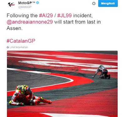 Tabrak Lorenzo, Iannone Dihukum Start Paling Belakang di GP Assen