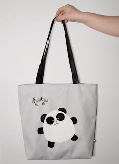 Guyuminos Bolsa de mano gris con oso panda