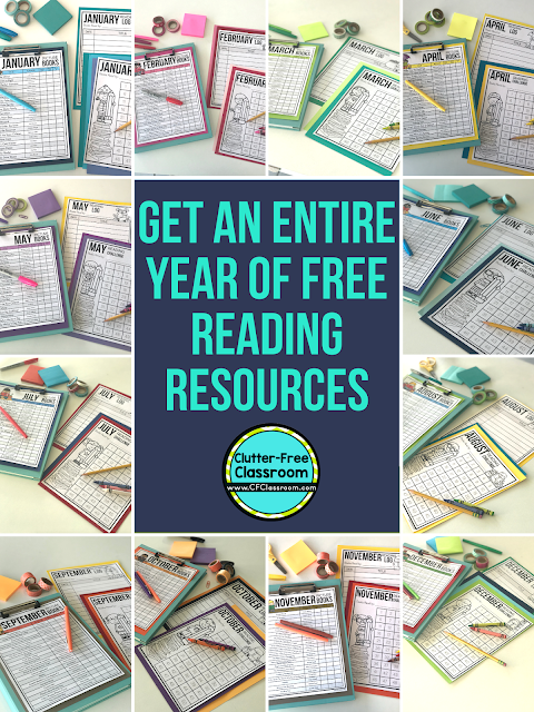 This free teaching resource includes a list of seasonal picture books for each month of the year, blank book lists for elementary teachers to record your own titles, printable reading logs for your students, and print and go monthly reading challenge charts. #booklist #readinglog #readingchallenge #readaloud #readalouds